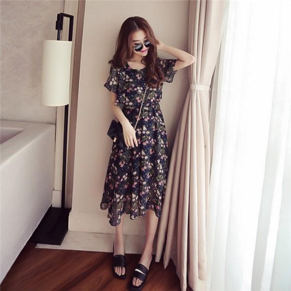 レディースワンピース 韓国無地 スリム 韓国のファッション 上品  学院? 丸首 シフォンハイウエストワンピース  ハイセンス 着心地いい おしゃれ 夏 スリム セール★ レディースワンピース