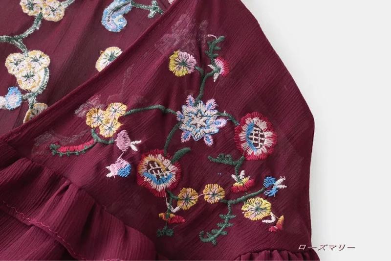 【ローズマリー】欧米2017秋新型ファッションのVネック積層裾フリルワンピース  スイート 花柄 刺繍レース 高品質 かわいい フィットスタイル-QQ3219