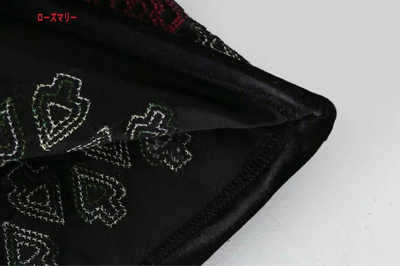 【ローズマリー】欧米2017秋冬新緩和半袖ストレートの刺繍ビロードに長ワンピース ロングワンピース ヴィンテージ調  ベーシック 大人気-QQ4937