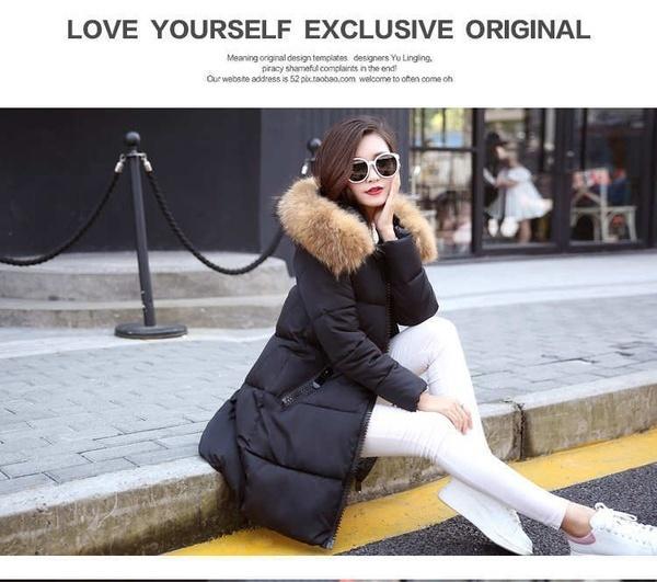 女性ロングコートファッションハイエンドフード付きコットン服冬暖かいファーカラーのアウターウェアを保つ