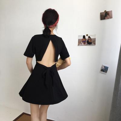 夏 女性服 新品 韓国風 セクシー バック中空 短袖 Vネック ワンピース  ウエスト