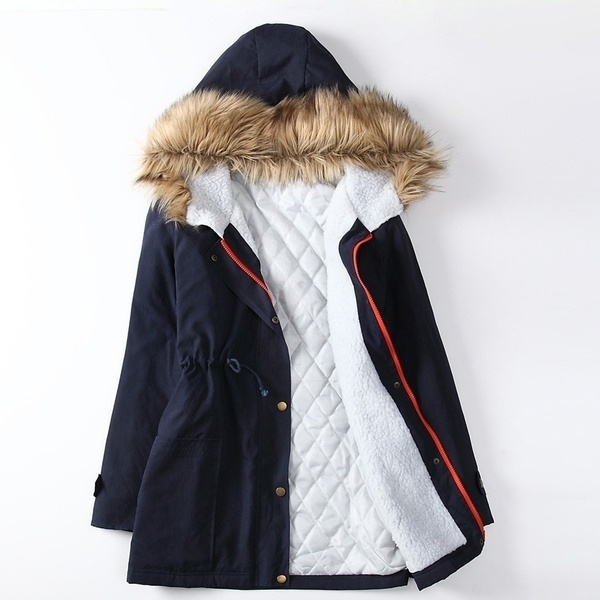 女性の厚い暖かい冬のコートフードパーカーのオーバーコートロングジャケットのアウトウェア