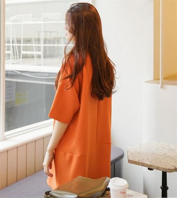 ワンピース 七分袖 シャツワンピース ロングシャツ レディース ラウンドネック ゆったり オレンジ