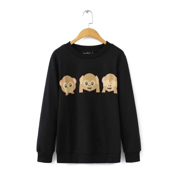 2015年秋の韓国レディースパーカーemojiプリントモンキーパターンロングスリーブoネックパーカースウェットシャツ