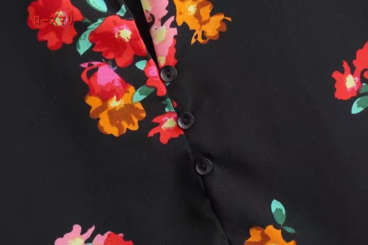 【ローズマリー】欧米風の春服新型女のファッション花卉プリント半ハイネック長袖ワンピースゆとり 花柄 ヴィンテージ調 長袖ワンピース  ベーシック 大人気-QQ5899