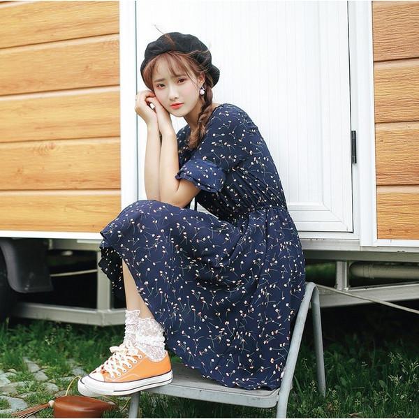 【送料無料】レディース ワンピース リボン キュート 五分袖 膝丈 2017 新作