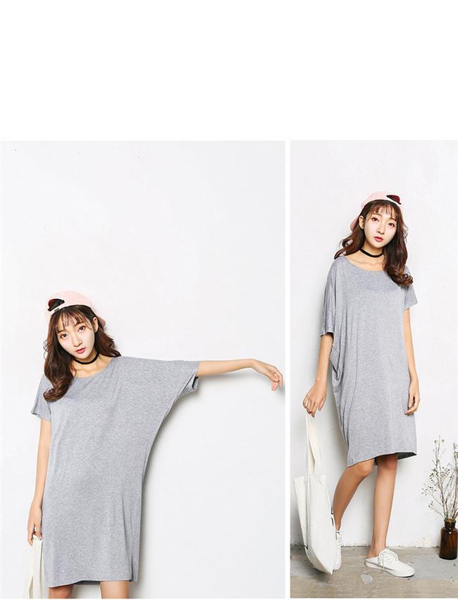 女性 Tシャツワンピース 綿麻 無地 韓国ファッション Tシャツ 大人の女性の必須 シンプル ドルマンスリーブ 短袖  レディース スリム・ライン 着痩せ 夏ファッション ワンピース 大きめ ミニシャツブラウス 可愛いティーシャツ