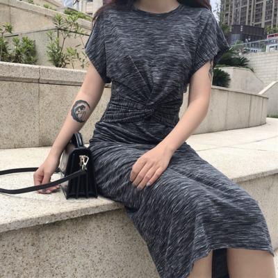 夏 新しいデザイン 韓国風 アンティーク調 ワンピース  女 着やせ 着やせ 丸襟 短袖