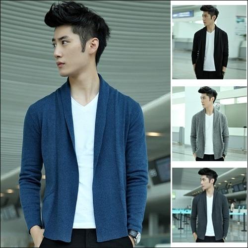 South Koreas new Korean youth fashion mens cardigans autumn man coat winter Sweater cardigan