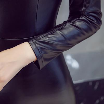 秋冬 ワンピース レザー スレンダーライン Vネック セクシー シンプル レディーズ女性 カジュアル ファッション 合わせやすい