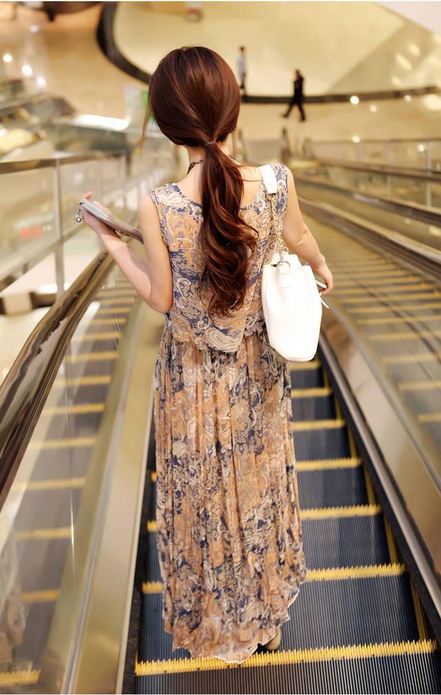 【メール便送料無料】レディースマキシワンピースノースリーブシフォンワンピボヘミアン花柄