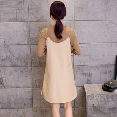[55555 SHOP]長袖Tシャツ+ワンピース Vネックゆったりサイズカットソーワンピース/大きく開いたVネックですっきりロング丈でしっかり体型カバー無地シンプルカットソー/ワンピース レディース