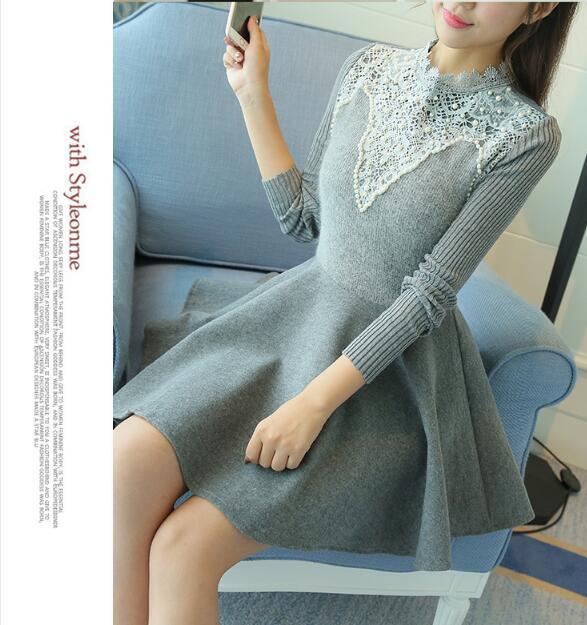 [55555SHOP]ワンピース Aラインワンピース ミディアム丈 シンプル 大きいサイズ スタイルアップ ドット長袖 パーティー 新作韓国ファッション 韓国