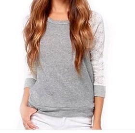 女性の刺繍レースのかぎ針編みのロングスリーブシャツトップファッションバックレスカジュアルブラウス