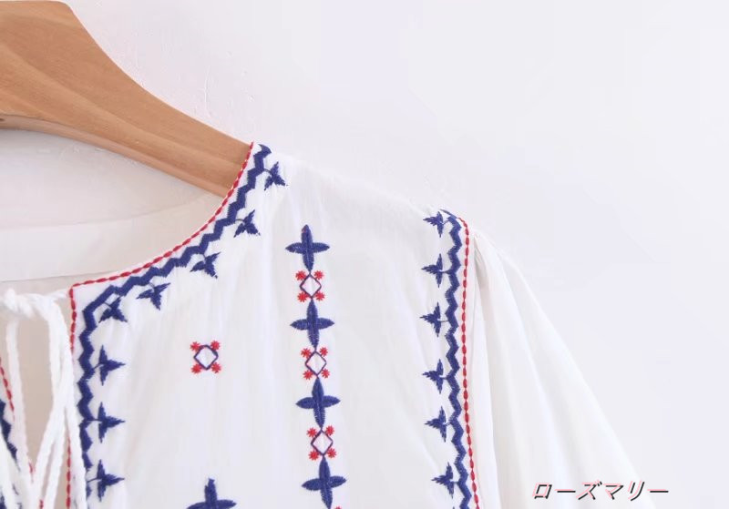 【ローズマリー】フリンジ刺繍ワンピース スイート 花柄 刺繍レース ヴィンテージ調  かわいい スイート-QQ3333