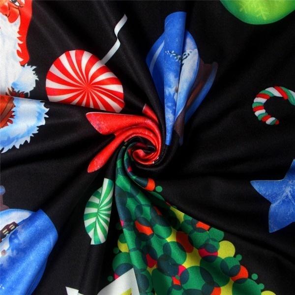 ファッションレディースクリスマスサンタパーティーミニフレアスウィングドレスクリスマスロングスリーブスケータートップ