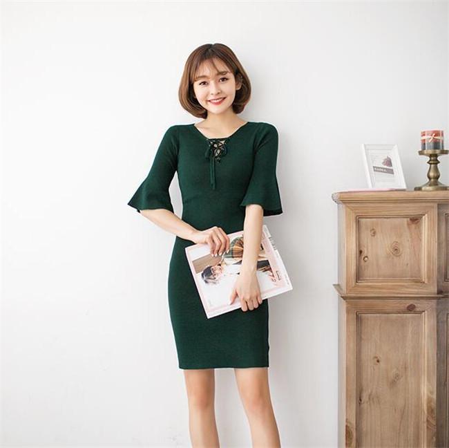【秋冬ワンピース】レディース ワンピース  編みニット セクシー ニットワンピース 編み上げ  エレガントスカート 送料無料  韓国ファッション   柔らかな肌触りで、着心地がよく