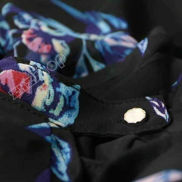 ファッション女性の秋カジュアルな花の印刷中空Vネックロングスリーブフラワーシフォンシャツ日焼け止めB