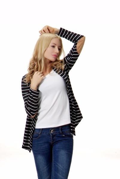 女性のカーディガン秋冬ジャケットファッションカジュアルルーズロングスリーブストライプコートオールマッチアウター