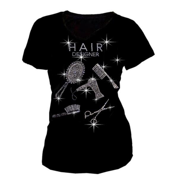 ホットセール新しい女性のカジュアルヘアライン印刷ラインストーン半袖Tシャツ