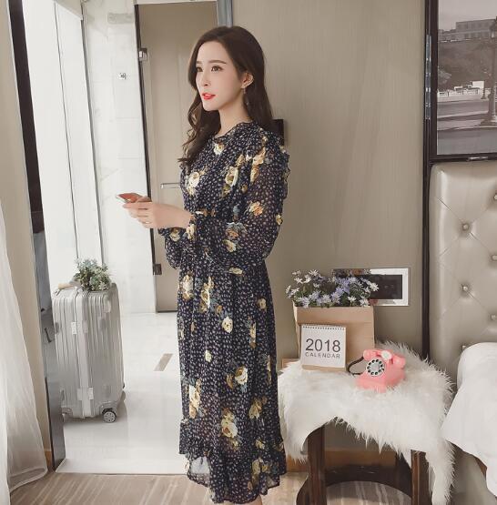 [55555SHOP]春ファッション百搭新型詰め襟長袖のプリントのワンピース プリント 長袖ワンピース ヴィンテージ調 ベーシック 大人気