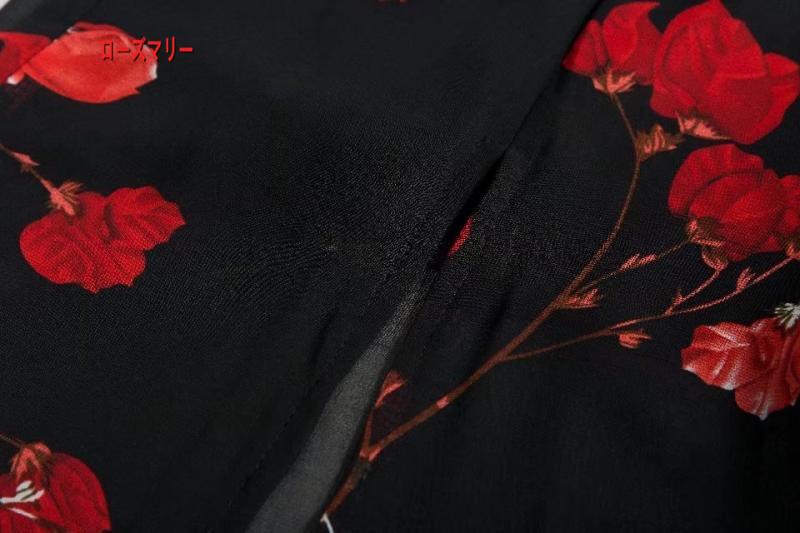 【ローズマリー】一字領ベアトップ修身着やせを包む胸欧米風プリントワンピース女夏紅花ハイウエストマキシ·ベンツ ボートネック ロングワンピース ビーチワンピース-R1011