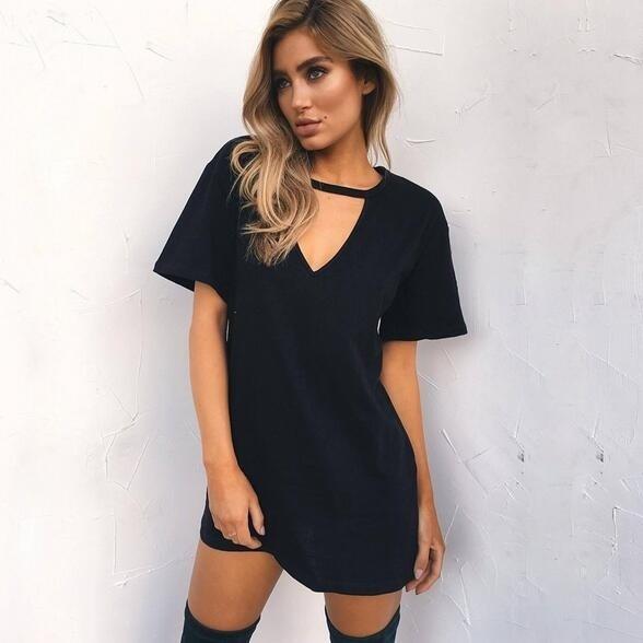 夏のファッションカジュアル女性ディープVのルーズ半袖Tシャツワンピース〜D7
