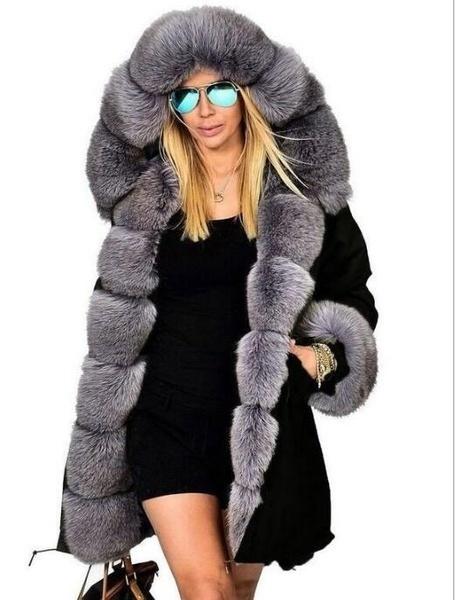 Gx-mkiling女性ラグジュアリーシルバーフォックス本物のファーフード付きウォームジャケットコートオーバーコート