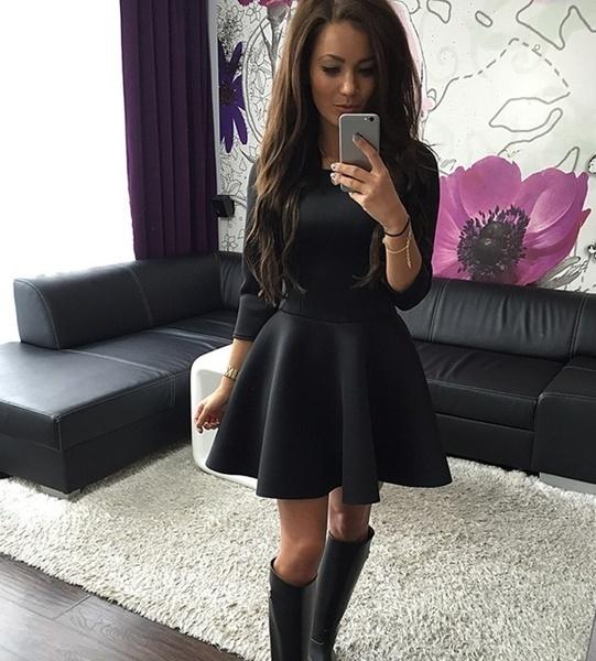 MGファッション新しい女性秋と冬の長袖短いフラワードレス