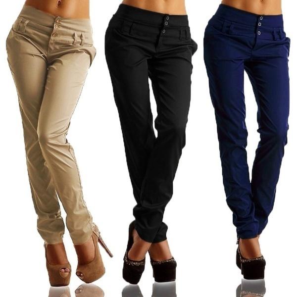 Zanzea Women VintageハイウエストフロントボタンカジュアルスリムパンツOL Ladies Long Pencil Pants