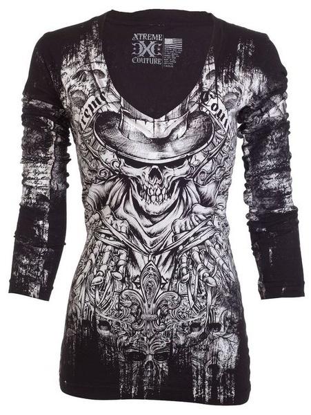 女性のファッションカジュアルVネックロングスリーブスカルプリントコットンパンクスタイルTシャツトップS-5XL ZH5364