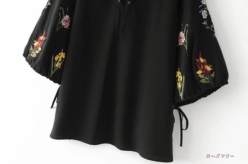 欧米風2017秋の新型ファッション刺繍ストラップワンピース7分袖ゆったりカジュアルスカート  刺繍ストラップワンピース スイート 花柄 刺繍レース 袖にボリューム-QQ1201