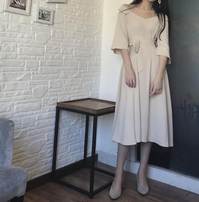 [55555SHOP]韓国ファッション 上品&ガーリー♡レトロ レース ♪ ワンピース/シャーリングディテール ワンピース