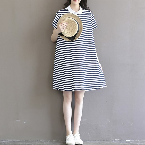 レディースワンピース 韓国無地 スリム 韓国のファッション  森女系 半袖ストライプワンピース 上品 ロングスカート   プリントワンピース  ハイセンス 着心地いい おしゃれ 夏 スリム セール★ レディースワンピース