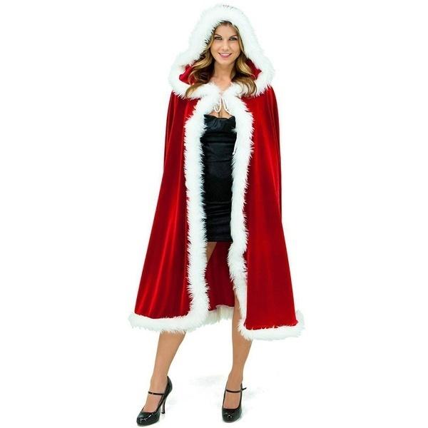 ハロウィーンのクリスマスパーティーのコスチュームセクシーなクリスマスのクロークリトル赤い乗馬のフードの女性のフェザードレス