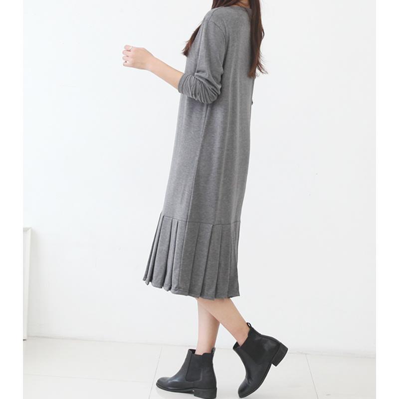 ww39【送料無料】新作!レディース ワンピース 長袖 プリーツ 美シルエット ロングワンピ 大人可愛い きれいめ 体型カバー シンプル オフィスカジュアル 韓国ファッション