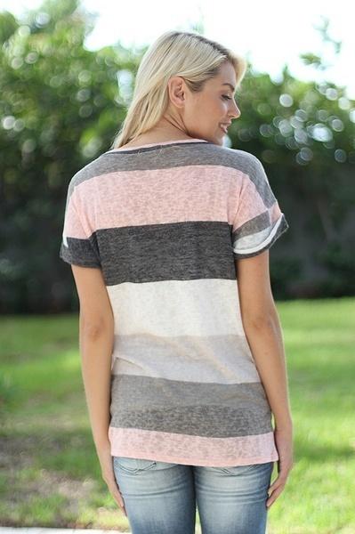 女性ファッション夏のポケットプリントストライプ不規則な半袖Tシャツ