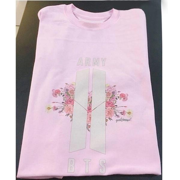レディースBTS&ARMY Floral Logo TシャツFashion Tee