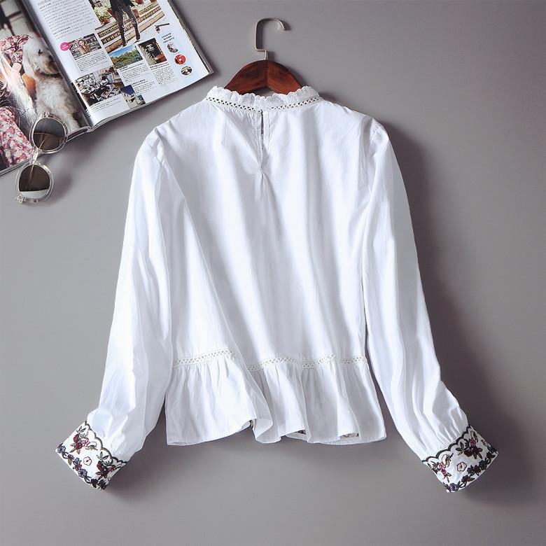 刺繍 シャツ ブラウス 長袖シャツ/ブラウス/スリム/学院風/レディースファッションシャツ