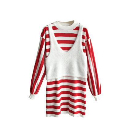 [55555 SHOP]妊婦服 長袖Tシャツ+ボーダー ワンピース ニットビスチェ、ニット、ベスト、ノースリーブ、レイヤード、ビスチェ