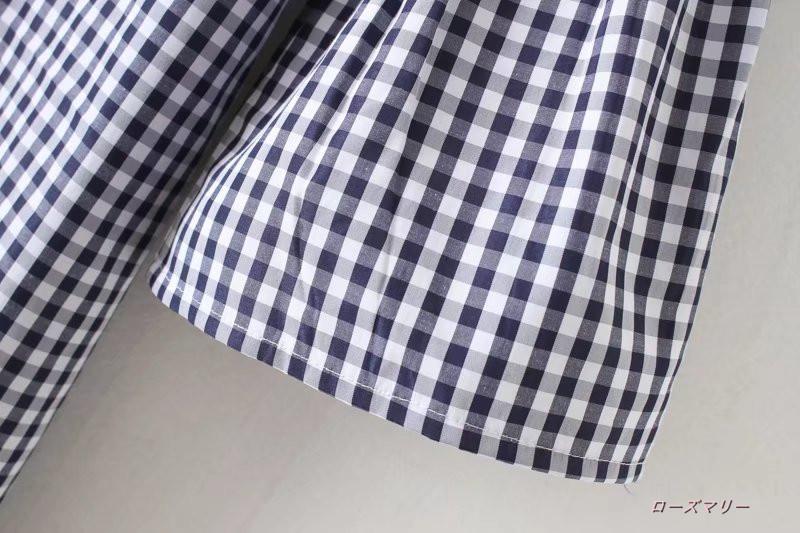 【ローズマリー】欧米風の秋の格子花刺繍ラッパ袖ワンピース着やせクルーネック ストレートスカート スイート 花柄 刺繍レース チェック柄-QQ1666