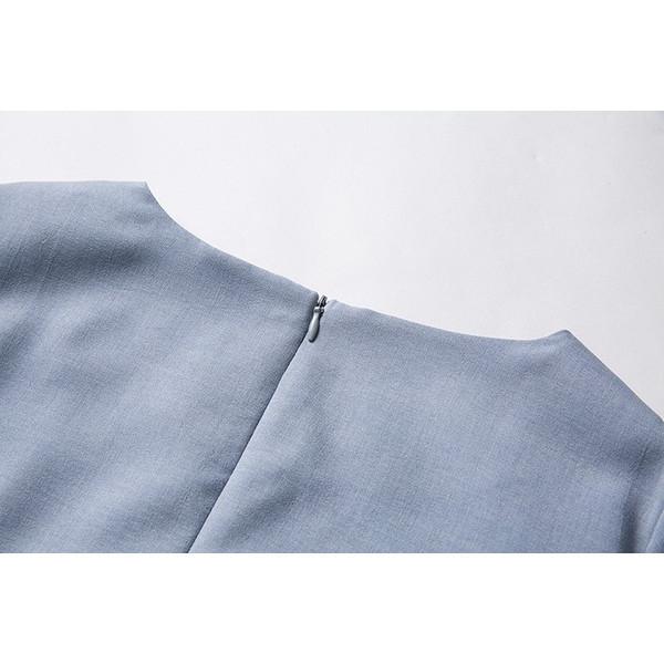 【お取り寄せ商品】オープンフロント Vネック Aライン 半袖 ミニ ワンピース ドレープ