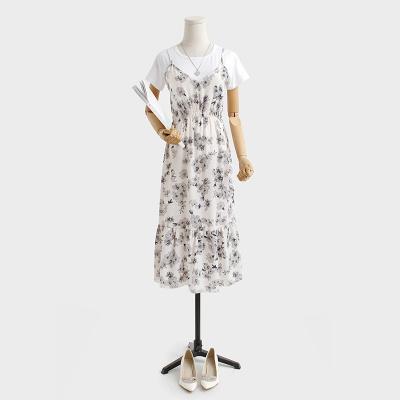 キャミレイヤード風ワンピース Tシャツトップ  キャミソール トップス プレミアムドレス 花柄ワンピース  ビーチワンピース シフォンワンピース セットアップ ★体型カバーになる★韓国ファッション