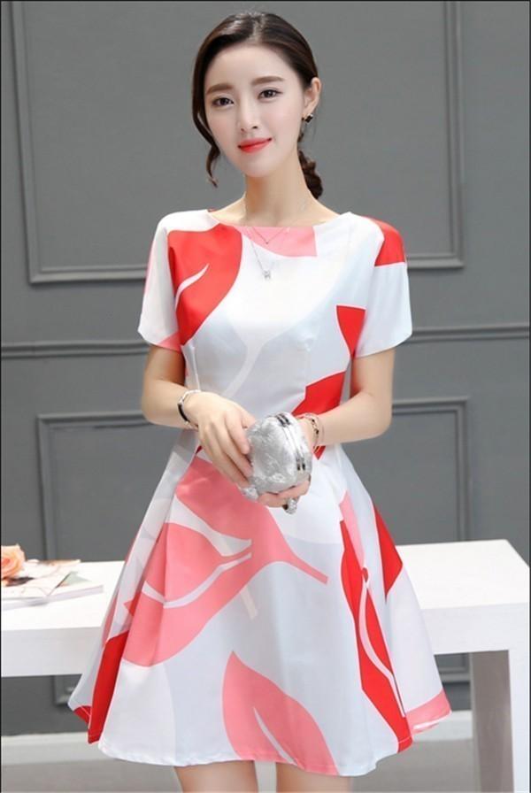レディースワンピース 韓国無地 スリム 韓国のファッション  丸首半袖ワンピース 上品 ロングスカート  ハイウエストワンピース  プリントワンピース  ハイセンス 着心地いい おしゃれ 夏 スリム