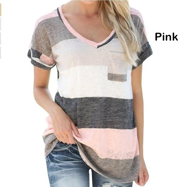 CAAWレディースファッションストライプ半袖TシャツプリントポケットシャツLoose Big Yards Recreationa