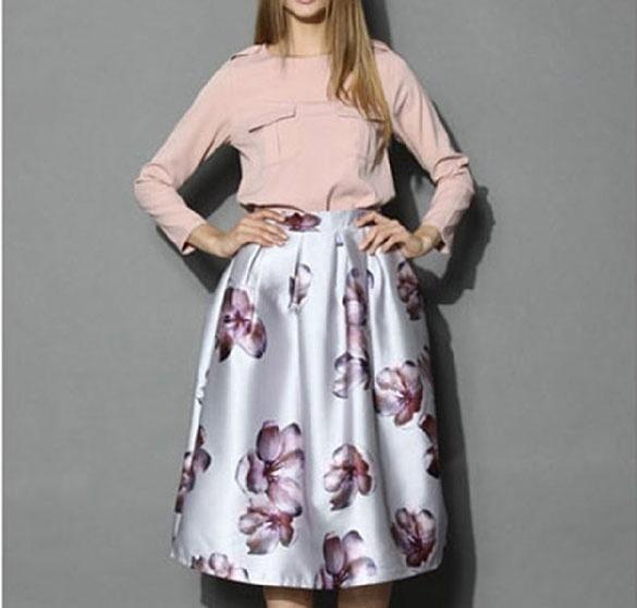 レディースエレガントレディースレトロAラインハイウエストビッグフラワープリントプリーツスウィンスカート