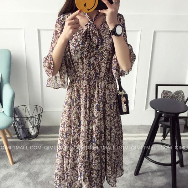 【送料無料】レディース ワンピース 花柄 五分丈 シフォン リボン付き フレア カジュアル ロング ファッション