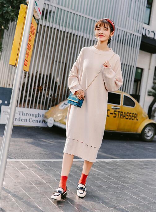 [55555SHOP]ベルト付き ケーブル編み ニット セーター ワンピ 大人気