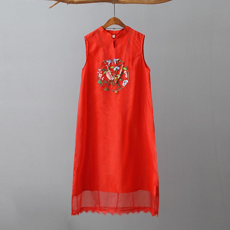 韓国ファッション  ワンピース   レディース    刺繍  ノースリーブ  ワンピース      着痩 / 上質/大人気/3COLOR  D7072595