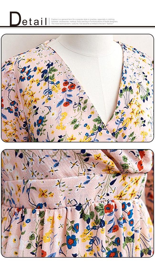★送料無料★小花柄 カシュクール ロングワンピース[レディース] 韓国ファッション ワンピース バッグ リュック パーカー コート アウター カーディガン ハロウィン セットアップ トレーナー